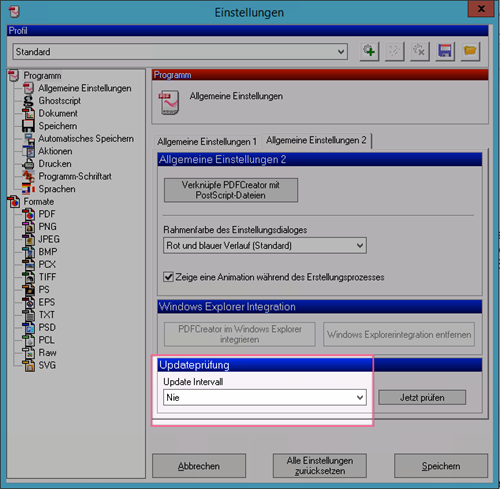 Ausschalten der automatischen Updateprüfung